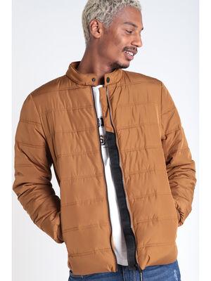 Doudoune droite zippee marron homme