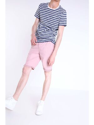 bermuda chino droit homme coton rose clair