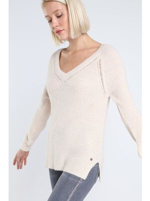 pull col en v femme maille fantaisie rose clair
