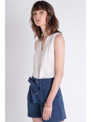 Short taille haute bleu fonce femme