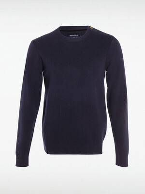Pull col rond boutons epaule bleu marine homme