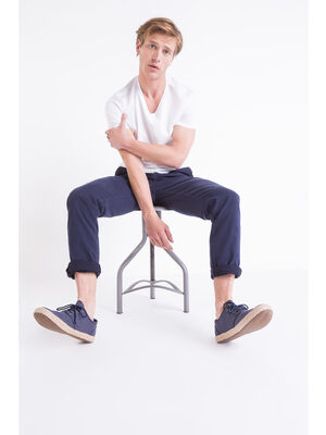 Pantalon chino slim Instinct bleu fonce homme