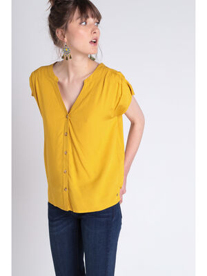 T shirt manches courtes noeud jaune moutarde femme