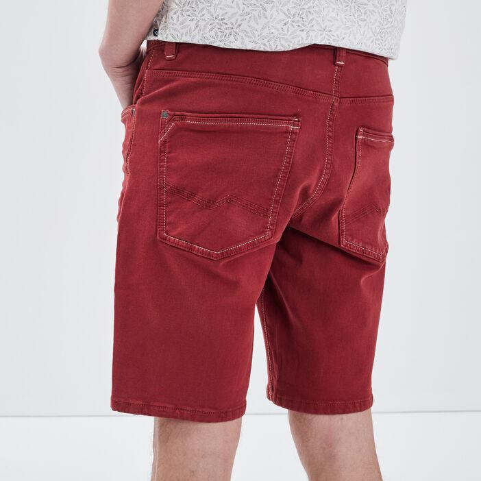 Bermuda droit 5 poches rouge foncé homme