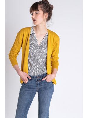 Gilet manches longues droit jaune moutarde femme