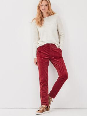 Pantalon chino velours cotele bordeaux femme