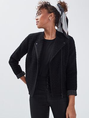 Gilet manches longues zippe noir femme