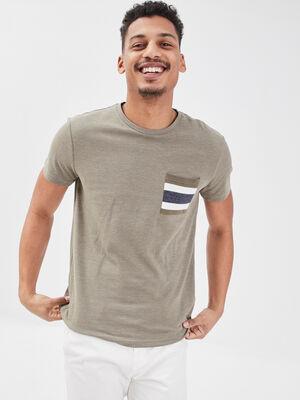 T shirt eco responsable vert kaki homme