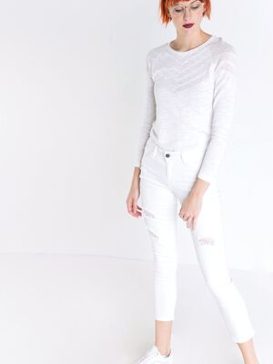 Pantalon regular destroy blanc femme