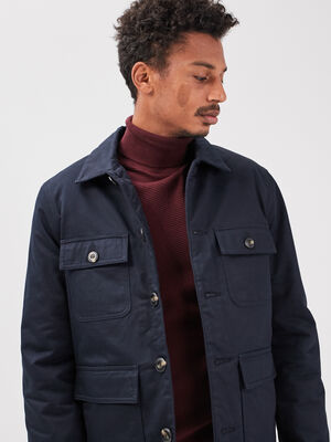 Veste droite avec 4 poches bleu marine homme