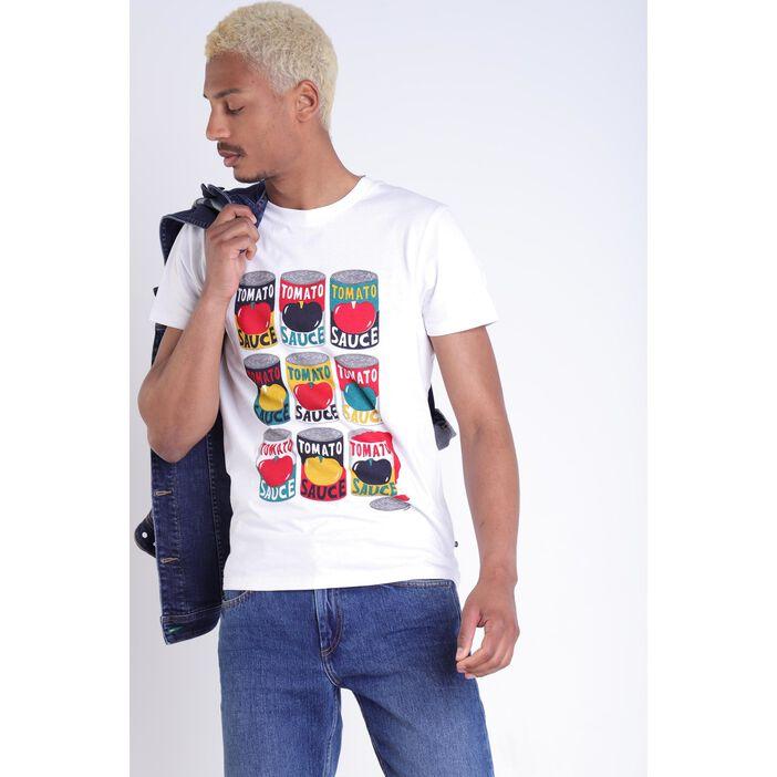 T-shirt Instinct col rond blanc homme