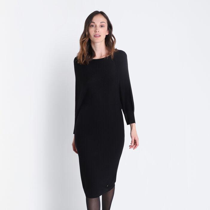 Robe pull droite dos dégagé noir femme