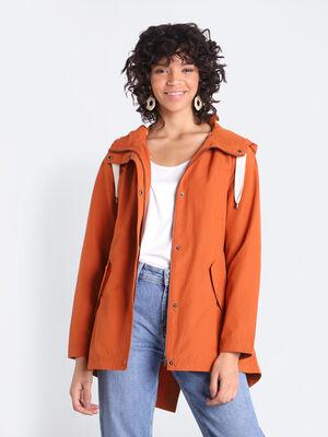 Parka evasee a capuche orange fonce femme
