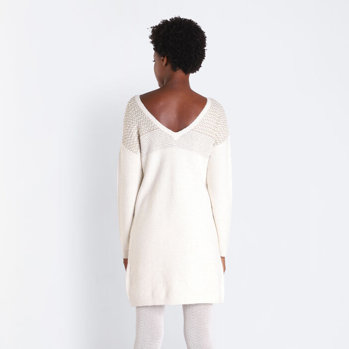 Robe pull droite dos dégagé ecru femme