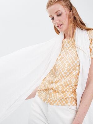 Foulard plisse ecru femme