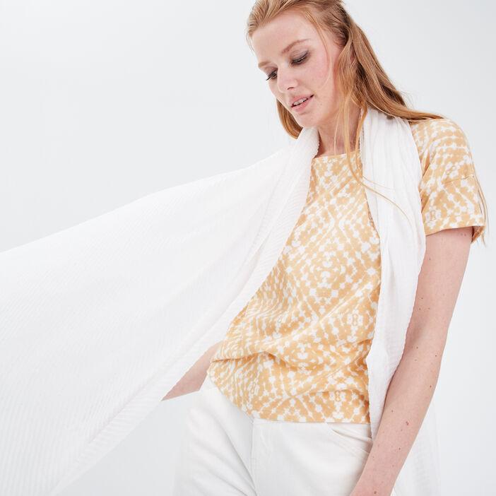 Foulard plissé ecru femme
