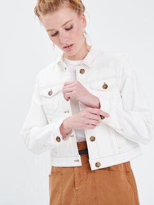Veste droite boutonnee en jean ecru femme