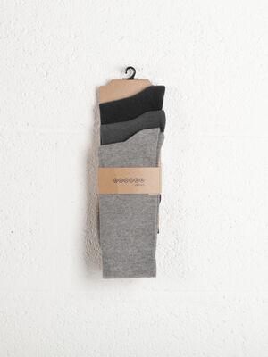 Lot 3 paires de chaussettes unies gris clair homme