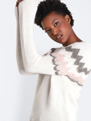 Pull manches longues blanc femme