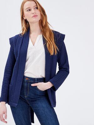 Gilet manches longues ceinture bleu canard femme