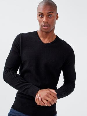 Pull manches longues noir homme