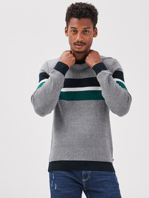 Pull manches longues vert fonce homme