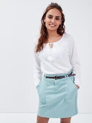 Jupe droite ceinturee vert clair femme