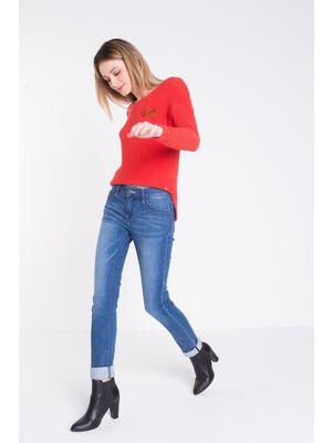 jeans slim femme pois denim stone
