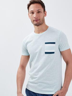 T shirt manches courtes bleu canard homme