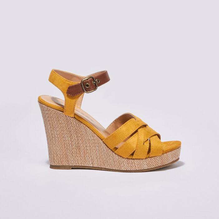 Sandales à talons compensés jaune femme