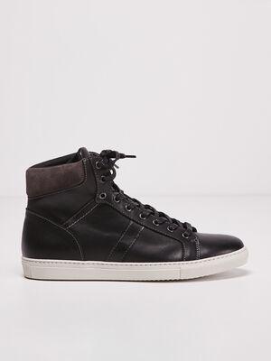 Baskets montantes en cuir noir homme