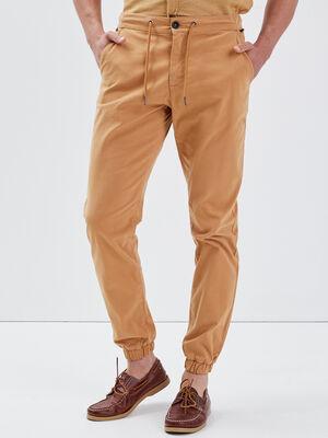 Pantalon chino bas elastique beige homme