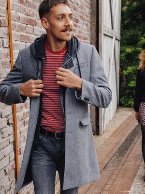 Manteau droit a parmenture gris fonce homme