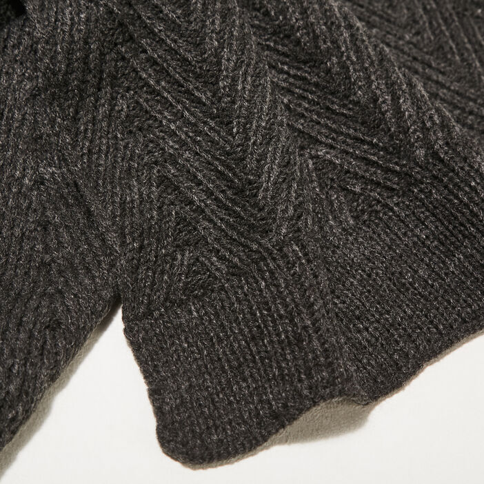 Écharpe tricotée gris foncé homme