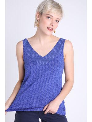 Debardeur imprime bleu violet femme