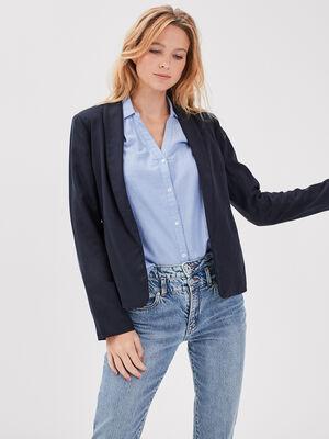 Veste blazer eco responsable bleu fonce femme