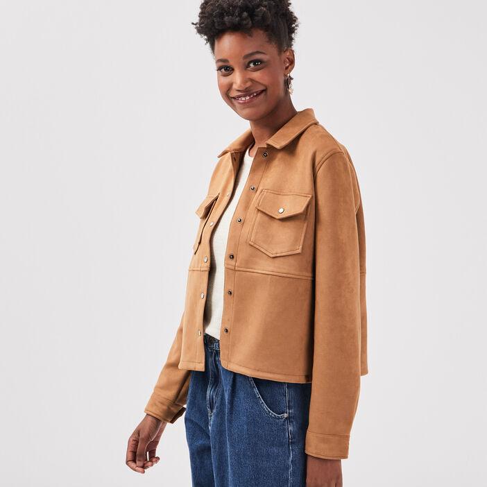 Veste droite effet suédine marron femme