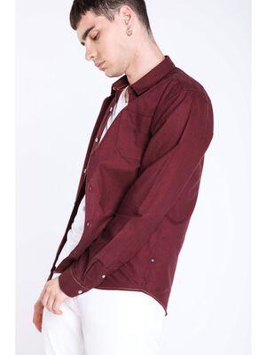 chemise col franais homme avec poche bordeaux