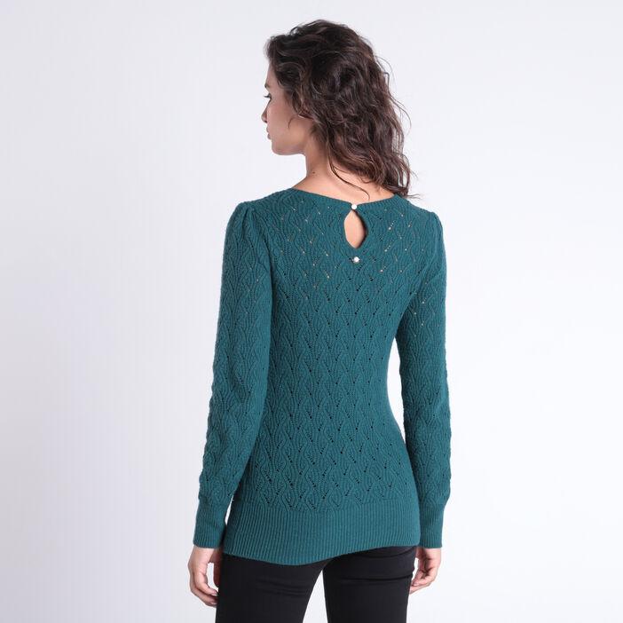 Pull manches longues torsadé vert canard femme