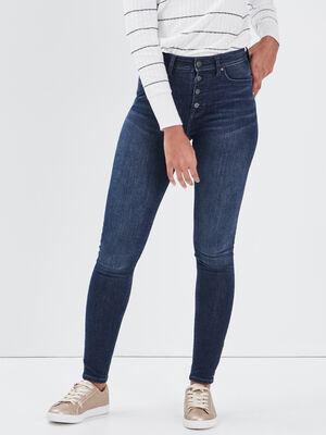 Jeans skinny boutonne denim brut femme