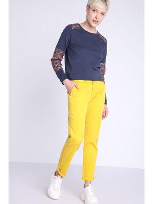 Pantalon chino Instinct jaune citron femme