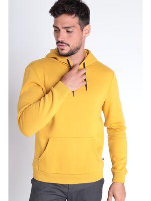 Sweat manches longues capuche jaune homme