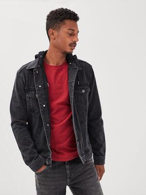 Veste droite en jean a capuche denim noir homme