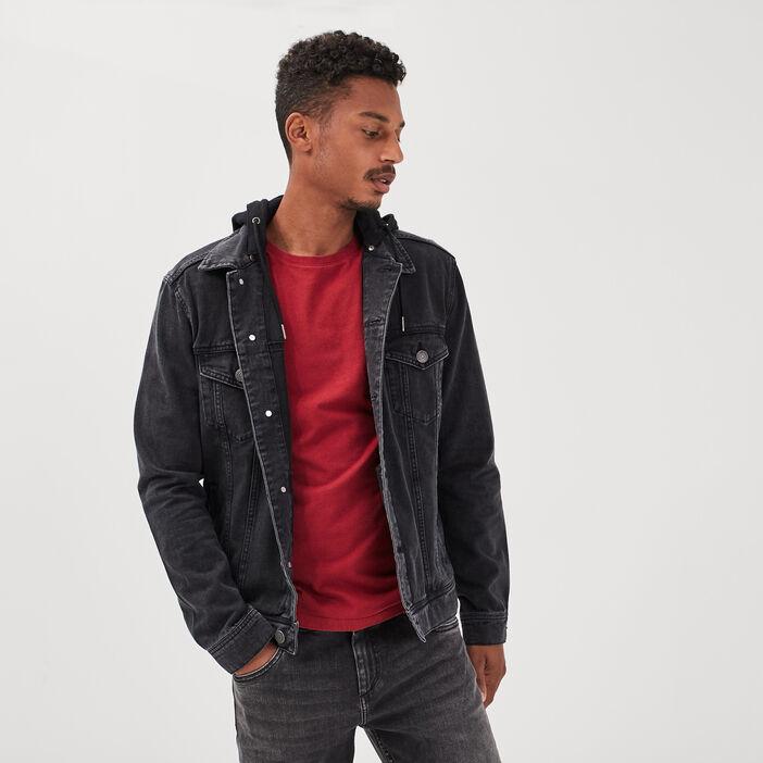 Veste droite en jean à capuche denim noir homme