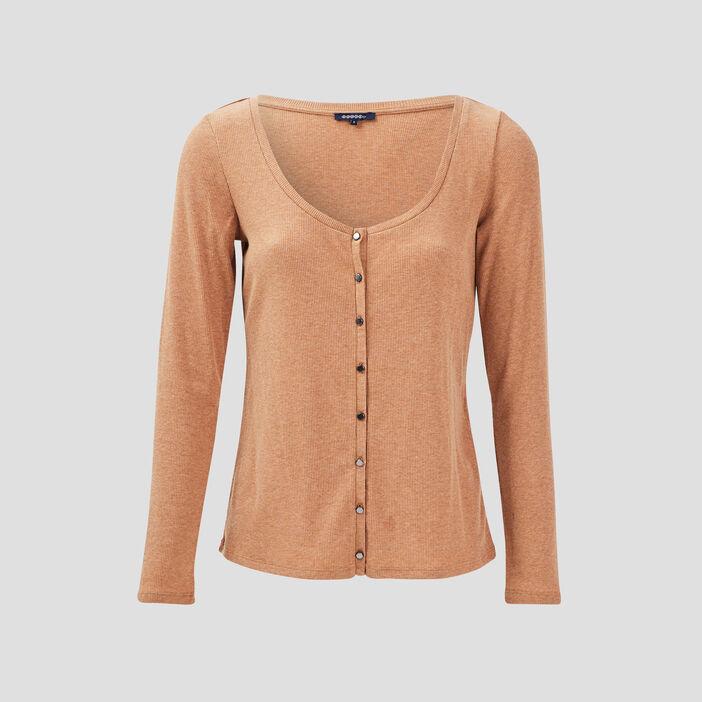 T-shirt manches longues côtelé marron femme
