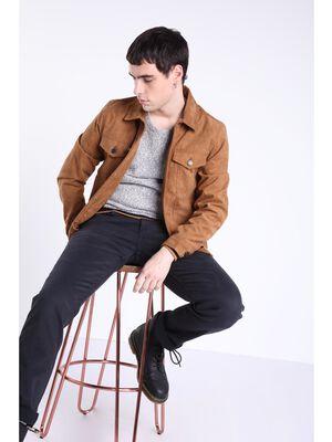 Jeans straight used L32 denim noir homme