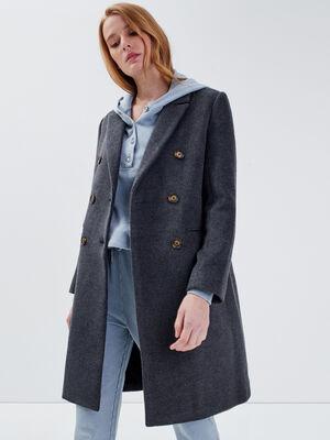 Manteau droit boutonne gris fonce femme