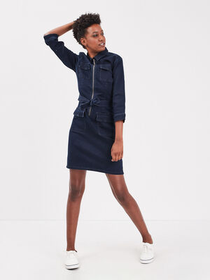 Robe droite zippee en jean denim brut femme