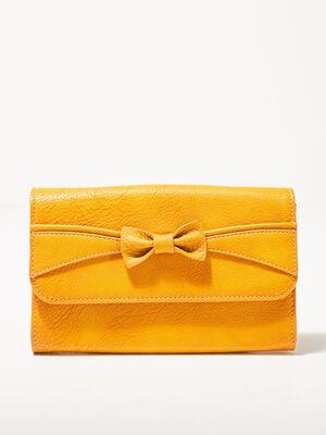 Portefeuille avec noeud jaune or femme