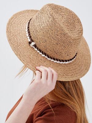 Chapeau tresse marron cognac femme